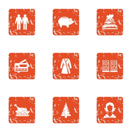 Holiday year icons set. Grunge set of 9 holiday year icons for web isolated on white background