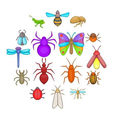 Insects icons set, cartoon style