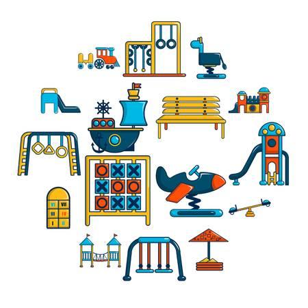 Playground equipment icons set, cartoon style Stok Fotoğraf