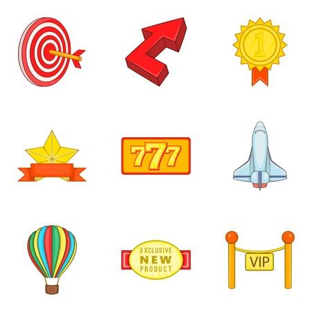 Accolade icons set, cartoon style