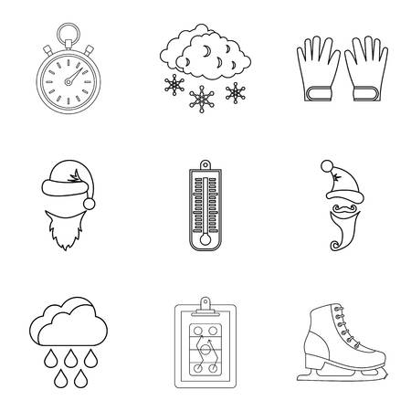 Refrigeration icons set, outline style Stock Photo