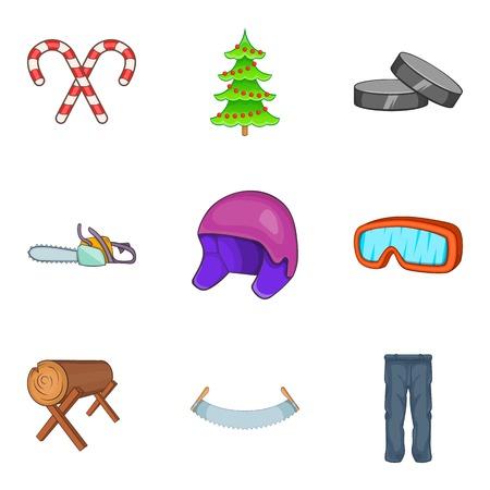 Cold icons set, cartoon style 스톡 콘텐츠