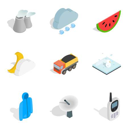 Hibernate icons set. Isometric set of 9 hibernate icons for web isolated on white background 스톡 콘텐츠
