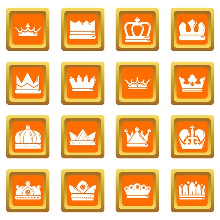 Crown gold icons set orange square isolated on white background