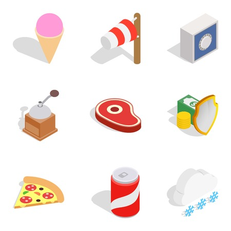 Spend the winter icons set, isometric style
