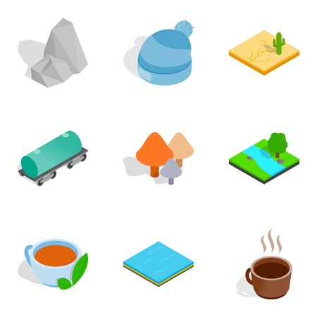 Season icons set, isometric style