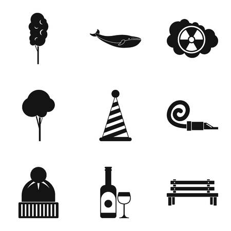 Snow journey icons set, simple style 스톡 콘텐츠