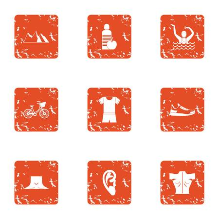 Street occupation icons set. Grunge set of 9 street occupation icons for web isolated on white background