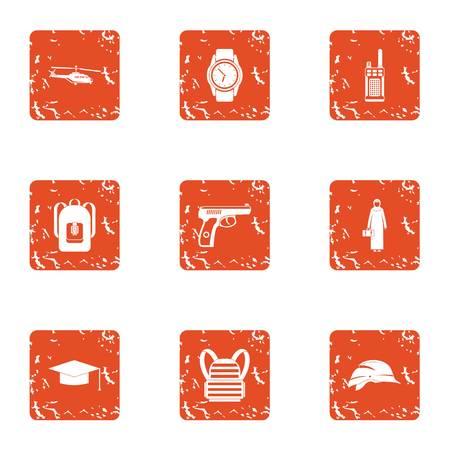 Crime challenge icons set. Grunge set of 9 crime challenge icons for web isolated on white background Stock Photo