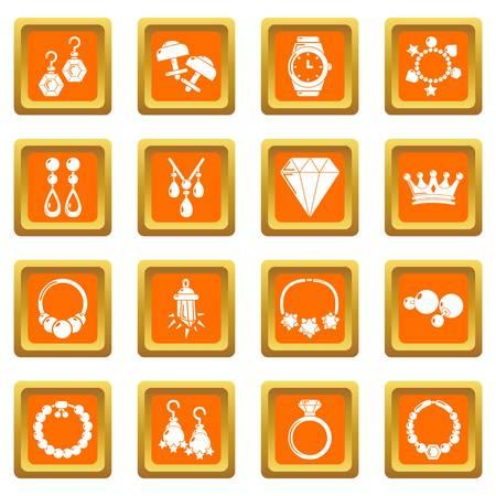 Jewelry shop icons set orange square isolated on white background