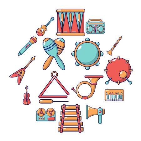 Musical instruments icons set. Cartoon illustration of 16 musical instruments icons for web