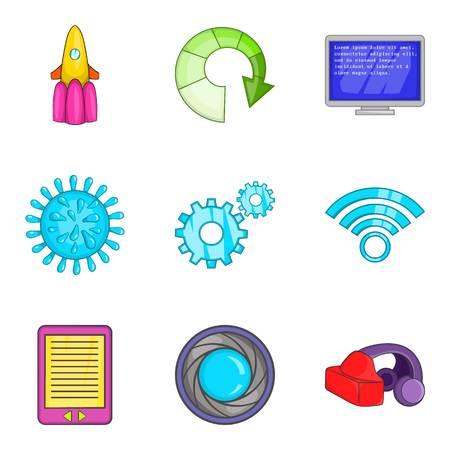 Cordless telephone icons set, cartoon style