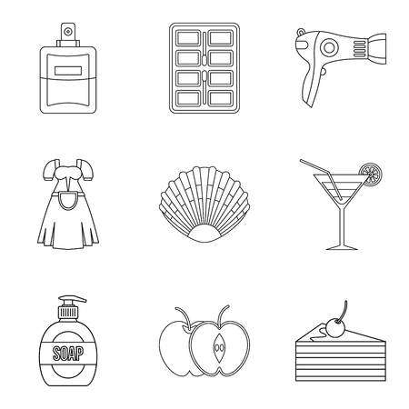 Charming girl icons set, outline style