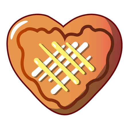 Heart cookie icon, cartoon style