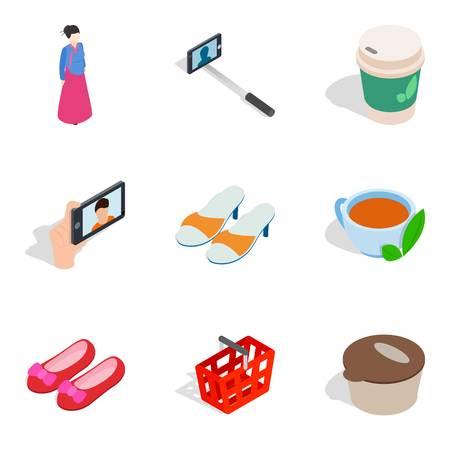 Women shop icons set, isometric style Zdjęcie Seryjne