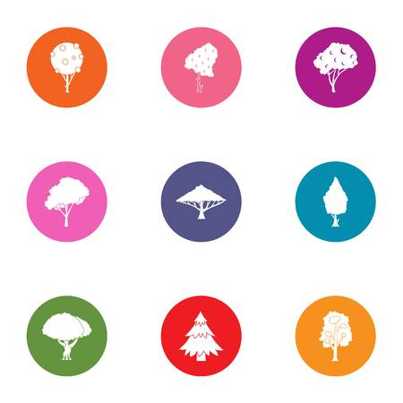 Brushwood icons set. Flat set of 9 brushwood vector icons for web isolated on white background 矢量图像