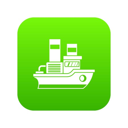 Small ship icon digital green for any design isolated on white vector illustration