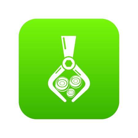 Crane with log icon green vector 向量圖像