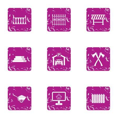 Design of fence icons set. Grunge set of 9 design of fence vector icons for web isolated on white background Illustration