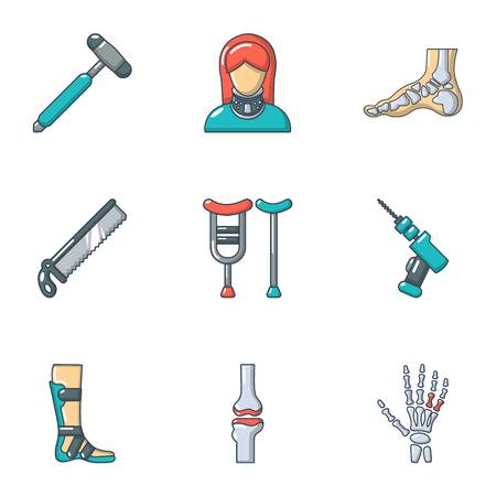 Ensemble d'icônes de membres artificiels. Ensemble de dessin animé de 9 icônes vectorielles de membre artificiel pour le web isolé sur fond blanc Vecteurs