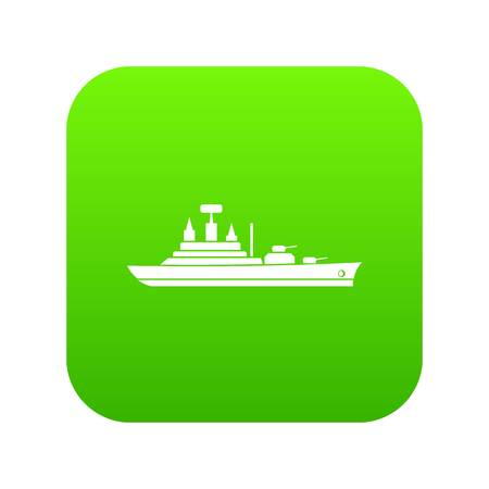 Warship icon digital green for any design isolated on white vector illustration