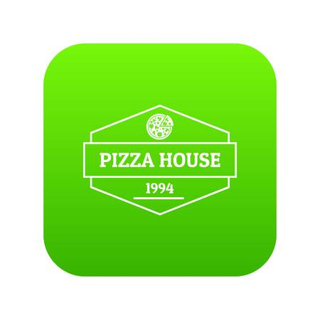 Pizza house icon green vector