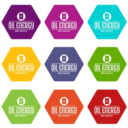 Barrel oil icons set 9 vector Çizim