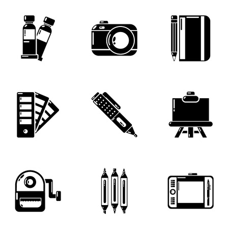 Design tools icons set. Simple set of 9 design tools vector icons for web isolated on white background