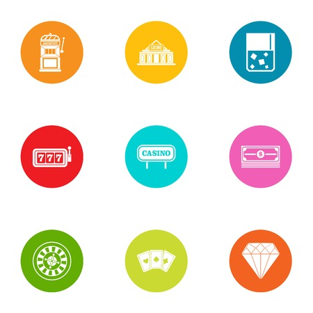 Safe bet icons set, flat style Stock Illustratie