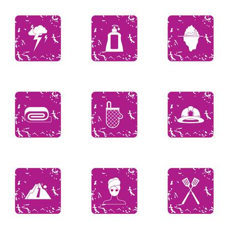 Female commerce icons set. Grunge set of 9 female commerce vector icons for web isolated on white background Illustration