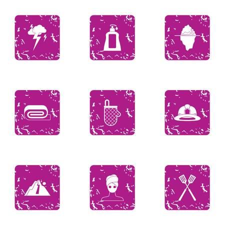 Female commerce icons set. Grunge set of 9 female commerce vector icons for web isolated on white background Illustration