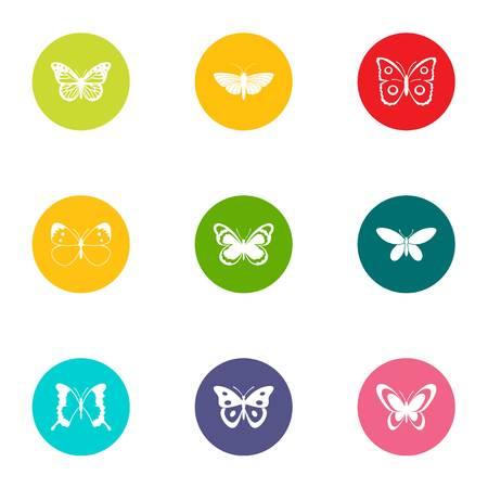 Ensemble d'icônes volantes insectes, style plat