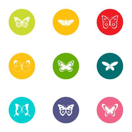 Insects flying icons set, flat style