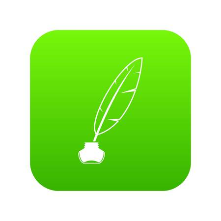 Ink with pen icon digital green for any design isolated on white vector illustration