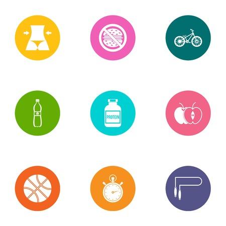 Feminine body icons set. Flat set of 9 feminine body icons for web isolated on white background