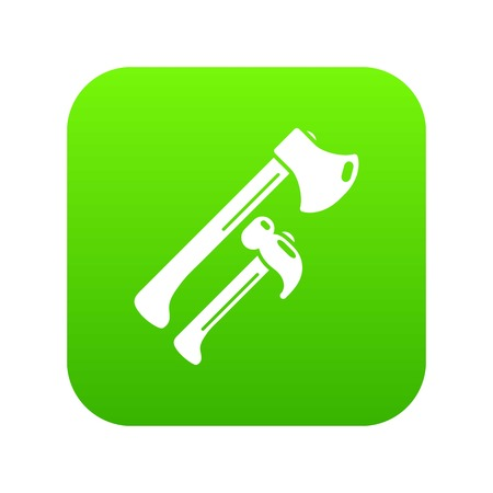 Hammer and axe icon green vector