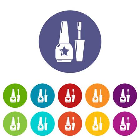 Nail polish icons color set vector for any web design on white background