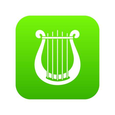 Harp icon digital green for any design isolated on white vector illustration