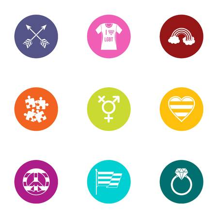 LGBT icons set. Flat set of 9 LGBT icons for web isolated on white background 矢量图像