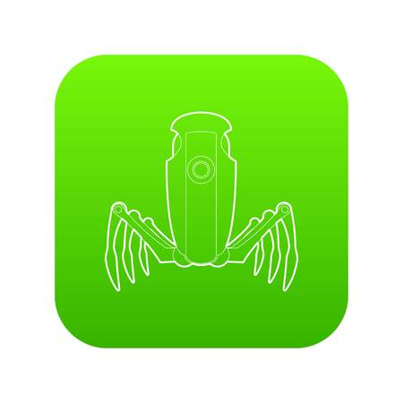 Robot spider icon green vector Иллюстрация