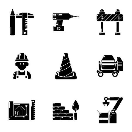 Building site icons set, simple style