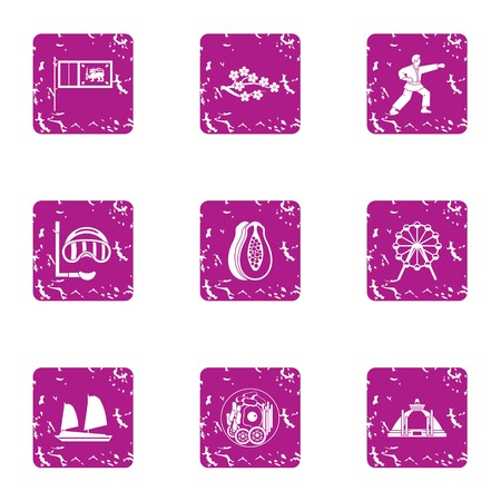 Perfection icons set. Grunge set of 9 perfection vector icons for web isolated on white background