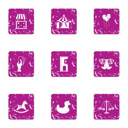 Street show icons set. Grunge set of 9 street show vector icons for web isolated on white background