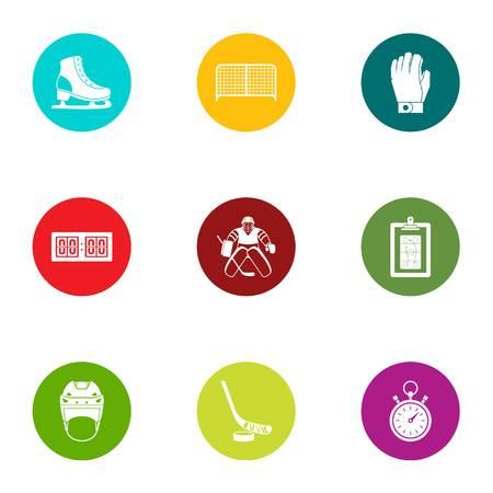 Hockey skill icons set. Flat set of 9 hockey skill vector icons for web isolated on white background Illusztráció