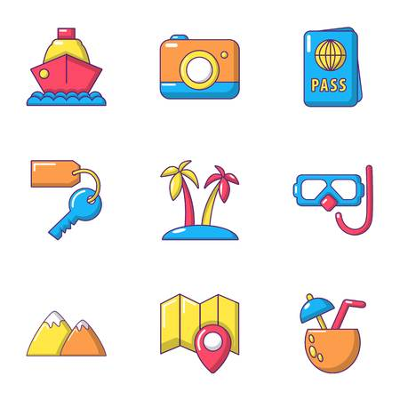 Tourist crossing icons set, cartoon style