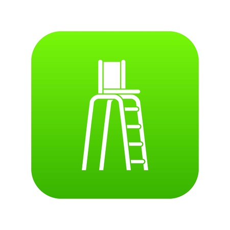 Tennis tower for judges icon digital green for any design isolated on white vector illustration Illustration