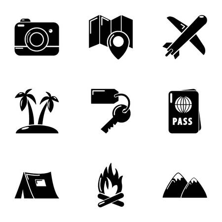 Holidaymaker icons set. Simple set of 9 holidaymaker vector icons for web isolated on white background