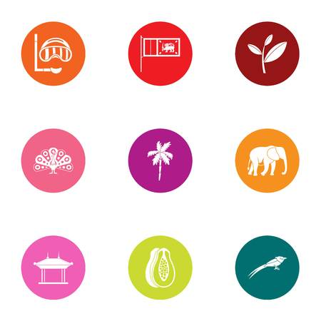 Beach water icons set. Flat set of 9 beach water vector icons for web isolated on white background