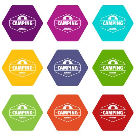Summer camping icons set 9 vector