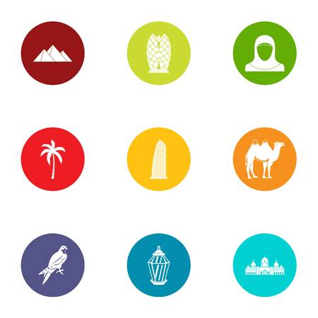Beachhead icons set. Flat set of 9 beachhead vector icons for web isolated on white background Illustration
